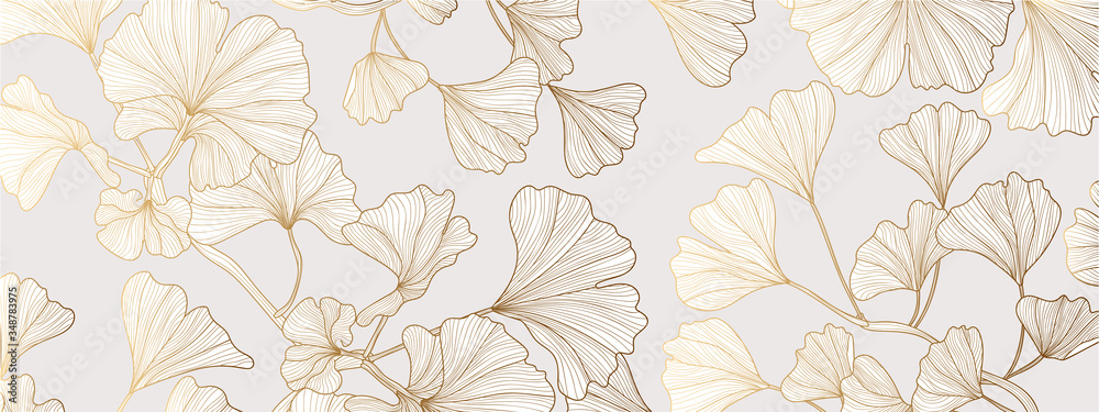 Fototapeta Luxury Gold Ginkgo line arts Background design vector.