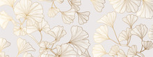 Luxury Gold Ginkgo Line Arts B...