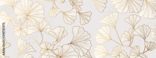 Fototapeta Luxury Gold Ginkgo line arts Background design vector. obraz