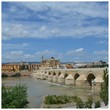 Arch Bridge Over River In Town Against Sky