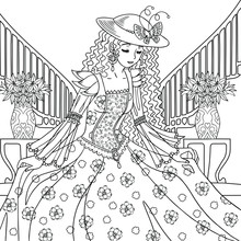 Lady In Victorian Dress Bows In The Big Palace.A Beauty With Long Hair And A Decorated Hat. Vector Outline Illustration For Coloring Book Pages For Adults.