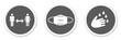 canvas print picture - Runde Buttons zeigen: Abstand halten, Mundschutz tragen und Hände waschen