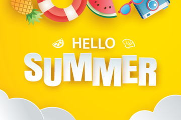 Hello summer with decoration origami hanging on yellow background. Paper art and craft style.