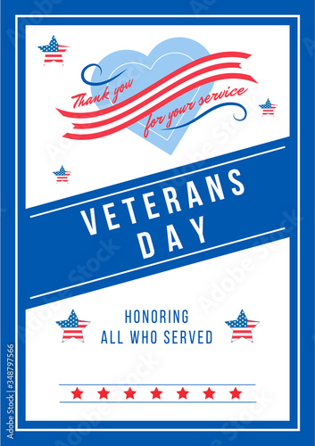 Annual Veterans Day poster flat vector template. Civil War heroes memorial. US freedom and liberty. Brochure, booklet one page concept design. American national holiday flyer, leaflet
