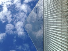 Low Angle View Of One World Trade Center Against Blue Sky