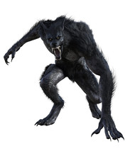 Werewolf Isolated On White, 3d Render.