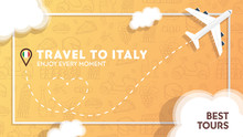Travel To Italy Banner With Pl...