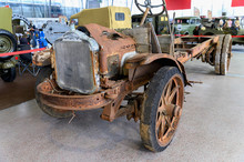 Russia, Moscow, March 8, 2020. Exhibition Of Vintage Cars. Destroyed Rusty Rotted Car For Restoration.