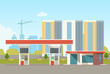 Gas station on against the background of the city landscape. Vector flat style illustration.