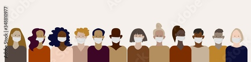 Set of various multinational human faces in protective medical masks Obraz na płótnie