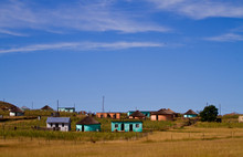 Rural Landscape Scene With Trditional Buildings