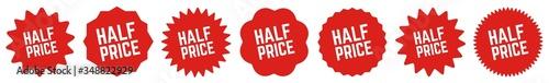 Fotografia Half Price Tag Red | Icon | Sticker | Deal Label | Variations