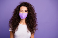 Close Up Photo Beautiful Modern Minded Lady Long Wave Wealth Hair Good Mood Wear Casual White T-shirt Clothes Protect Facial Mask Isolated Violet Purple Bright Background