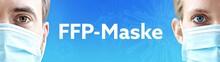 FFP-Maske. Gesichter Von Mann Und Frau Mit Mundschutz. Paar Mit Maske Vor Blauen Hintergrund Mit Text. Virus, Atemmaske, Corona