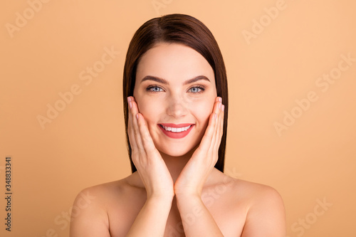 Fototapety, obrazy: Close up photo of positive cheerful girl touch face hands enjoy new salon skincare procedure like new plastic surgery therapy make skin perfect pure isolated over pastel color background