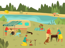 Family Bbq Picnic On Summer Vacation, Barbecue With Grandparents, Father, Mother And Children In Nature Travelling Flat Vector Illustration. Grandfather And Grandmother Cooking On Family Picnic.