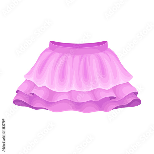 Fotografering Bright Seasonal Purple Flared Skirt for Girls with Pleats Vector Illustration