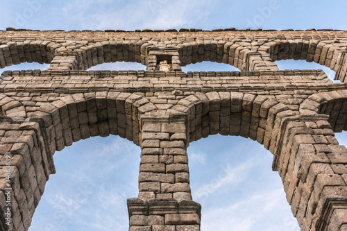 The famous Roman aqueduct of Segovia in Spain Canvas Print