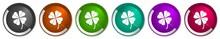 Four-leaf Clover Icon Set, Sil...