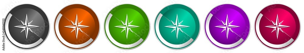 Fototapeta Compass icon set, silver metallic chrome border vector web buttons in 6 colors options for webdesign