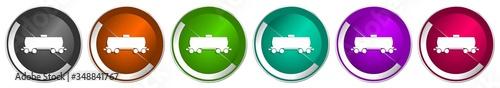 Photo Fuel cistern wagon icon set, train silver metallic chrome border vector web butt