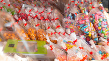 Packed Colorful And Diverse Sweets In Bags At A Street Sale.
