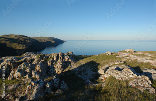 View of Baikal Lake on a clear summer evening from the Cape Ulan-Zaba (area of A Canvas Print
