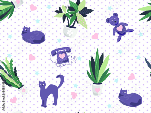 Vector seamless pattern with cute cats and flowers. For printing on wrapping paper, fabric, and children's clothing.