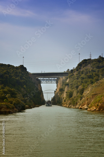 Obraz na plátne Corinth Canal, tidal waterway across the Isthmus of Corinth in Greece, joining t
