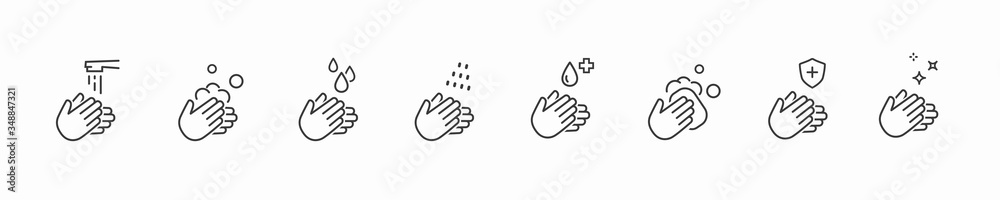 Fototapeta Icon set of disease prevention protect. Vector sanitizer, antiseptic, antibacterial symbols. Healthcare wash hands with rinse water, tap, soap drop and safety signs