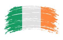 Ireland Torn Flag In Grunge Br...