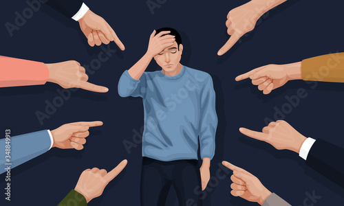 Fototapeta Depressed and sad young man surrounded by hands with index fingers pointing at he