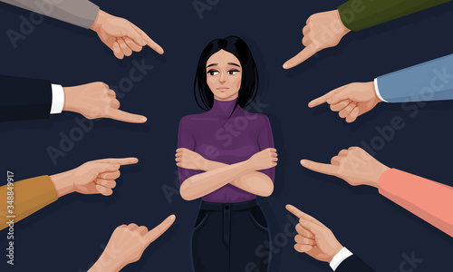 Depressed and sad young woman surrounded by hands with index fingers pointing at her Canvas Print