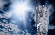 Ancient Statueof Angel In Rays...
