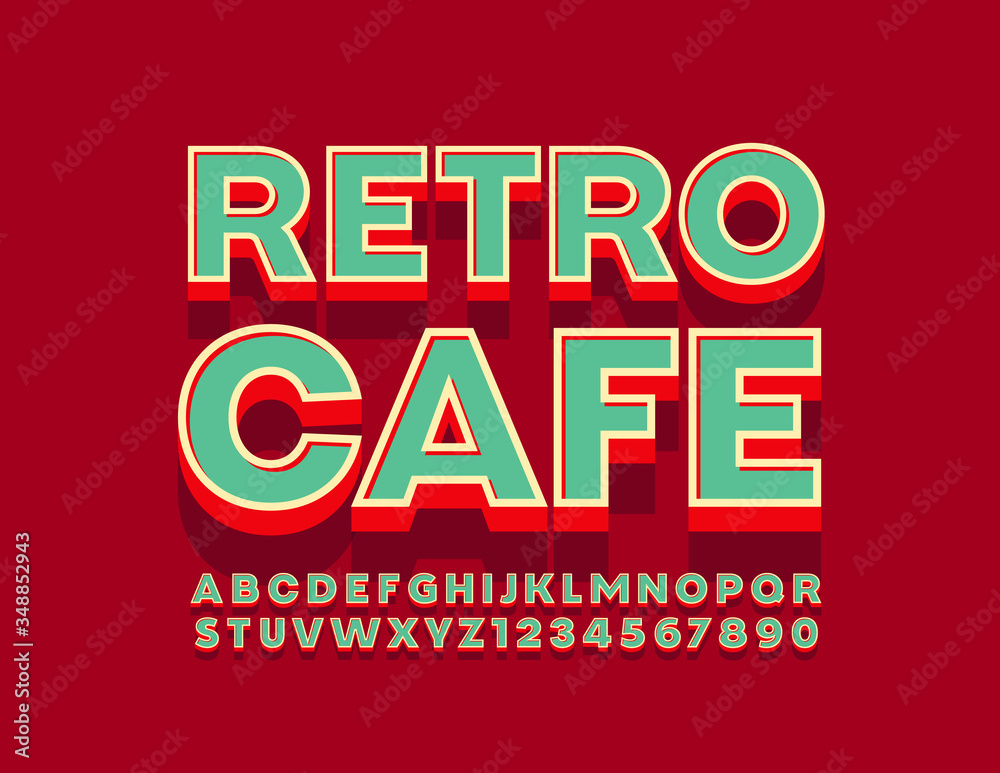 Fototapeta Vector bright logo Retro Cafe with 3D Font. Vintage Alphabet Letters and Numbers