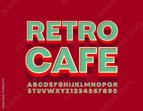 Fotografia Vector bright logo Retro Cafe with 3D Font