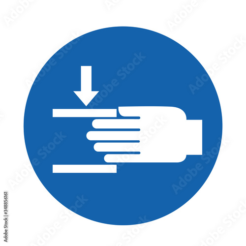 Photo Beware Of Crushing Hand sign Vector Illustration