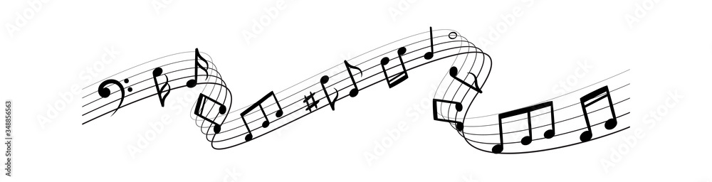 Fototapeta Music notes silhouettes. Musical swirl flowing waves vector abstract illustration