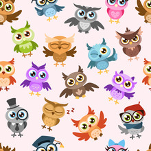 Owls Seamless Pattern. Colorfu...