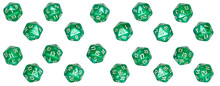 Every Number Side Of A Well Used Green Plastic D20 Game Dice.  Isolated On A White Background