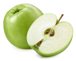 Fresh green apple isolated on white. Organic apple. Apple clipping path. Full depth of field