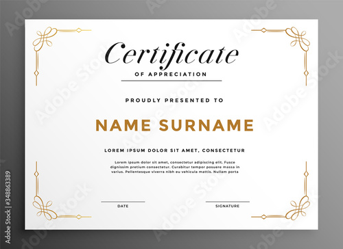 Fotografija classic white multipurpose certificate template design concept