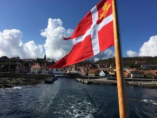 Flag Against Bornholm Island