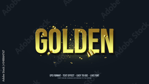Gold Writing Illustrations Vector Text Effect - 348864767