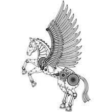 Steampunk Horse Coloring On A White Isolated Background.