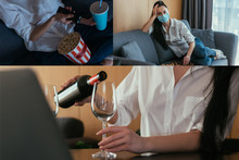 Collage Of Woman Watching Tv, ...