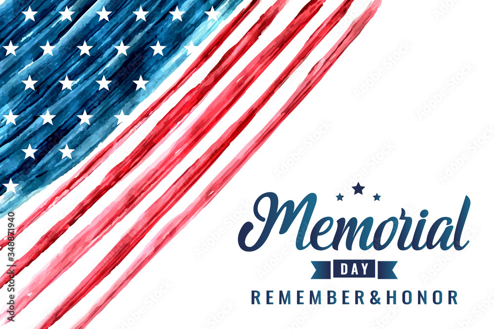 Fototapeta Memorial day card or background. vector illustration.
