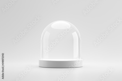 Tela Modern pedestal or podium stand on blank product background with dome glass concept