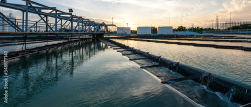 Obraz na plátne Banner photo of Recirculation Solid contact Clarifier Sedimentation Tank in Water treatment plant