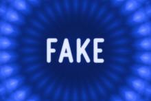 Fake - Word On A Blue Backgrou...